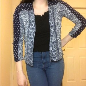 Blue Tribal Patterned Open Front Cardigan